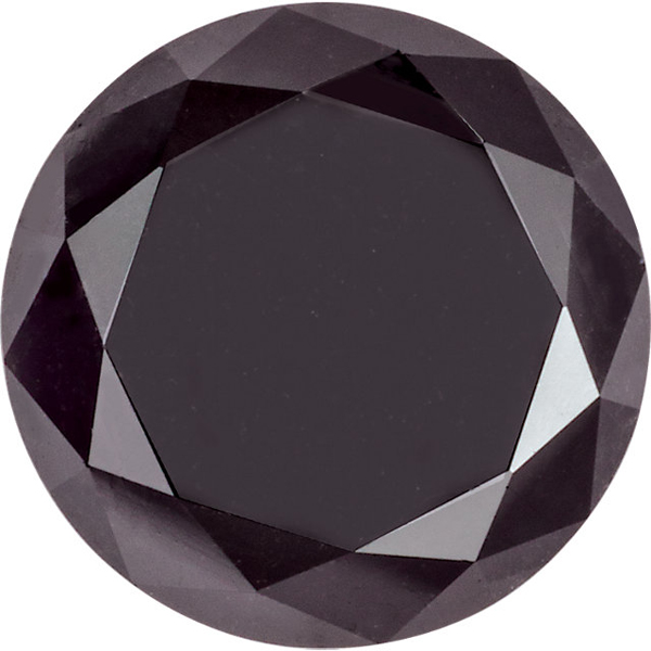 Round Shape Enhanced Black Diamond I3 Clarity, 5.20 mm in Size, 0.6 Carats