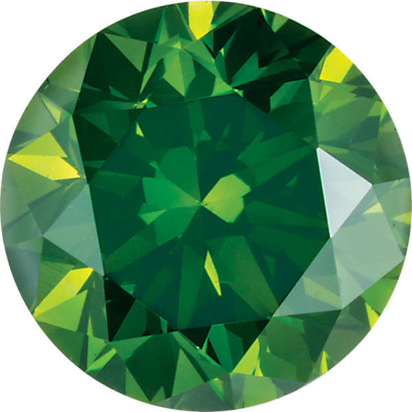 Faceted Enhanced Dark Green Diamond Melee, Round Shape, SI Clarity, 2.70 mm in Size, 0.07 Carats