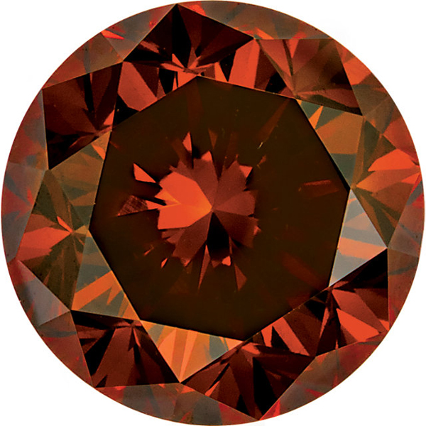 Round Shape Enhanced Orange Diamond SI Clarity, 3.00 mm in Size, 0.1 Carats