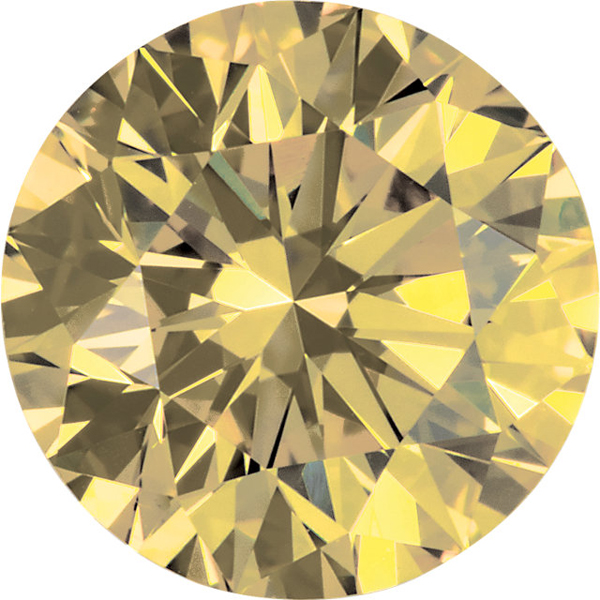 Round Shape Enhanced Yellow Diamond SI Clarity, 4.20 mm in Size, 0.33 Carats