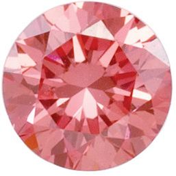 Coral Pink Laboratory Grown Diamonds in Round Shape