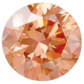 Peach Colored Laboratory Grown Diamonds in Round Shape
