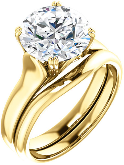 Round Solitaire Engagement Ring For Shape Centergem Sized 5.20 mm to 9.40 mm - Customize Metal, Accents or Gem Type