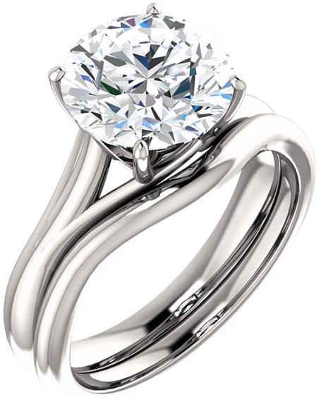 Round Solitaire Engagement Ring Mounting for 4.10 mm - 9.40 mm Center - Customize Metal, Accents or Gem Type