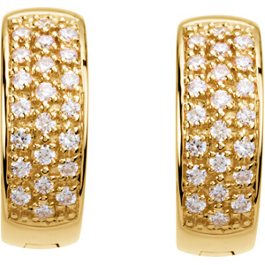 Royal 1/3 ct tw 1.20 mm Diamond Hoop Earrings skillfully set in 14 karat Yellow Gold for SALE - What a Deal!