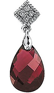 Royal 3.9ct 12x8mm Brazilian Garnet & Diamond Pendant set in 14 karat White Gold with Free Chain for SALE