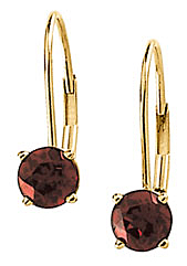 Royal 4 Prong .62ct 5mm Mozambique Garnet Lever Back Earring set in 14 karat Yellow Gold for SALE