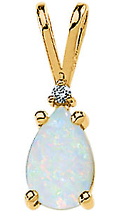Royal .72ct 9x6mm Pear Opal Cabochon Prong Pendant set in 14 karat Yellow Gold - Round Diamond Accent - Free Chain