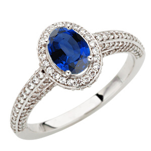 Royal Blue Genuine Blue Sapphire 7x5mm Oval Gemstone set in Pave Diamond Gold Mounting for SALE