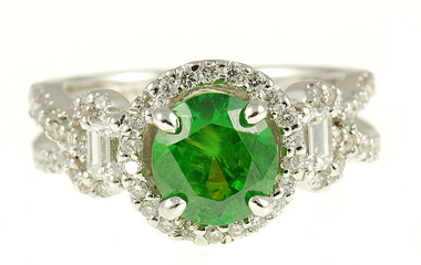 Russian Demantoid Garnet and Diamond ring in 18kt gold - Unique Combo of Diamond Baguettes and Melee - SOLD