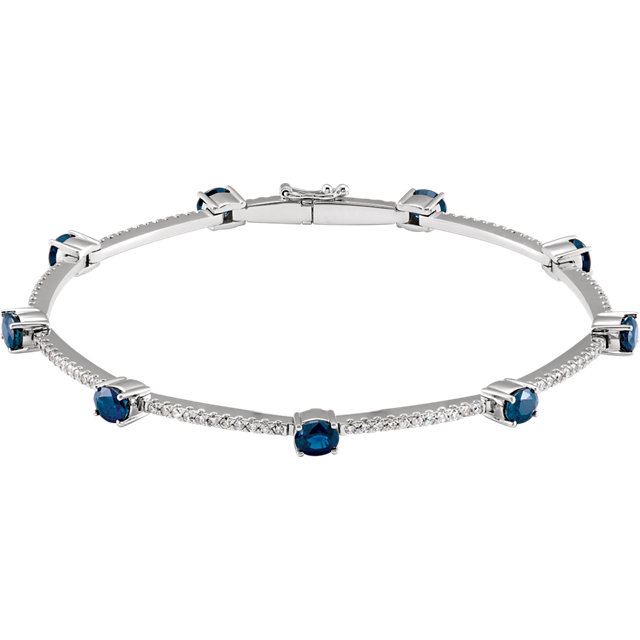Must See 14 Karat White Gold Sapphire & 0.75 Carat Total Weight Diamond Line Bracelet