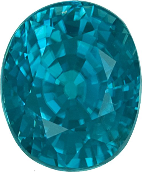 Saturated Color in Oval Bright Celadon Blue Zircon Gem, 12.9 x 10.8mm, 12.89 carats