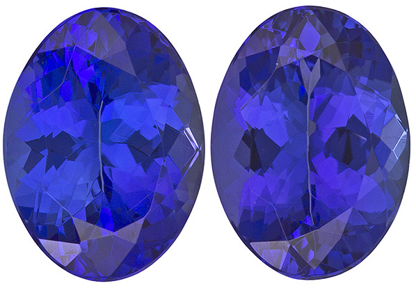 Saturated Tanzanite Well Matched Pair in Oval Cut, Rich Blue, 8 x 6 mm, 2.66 carats