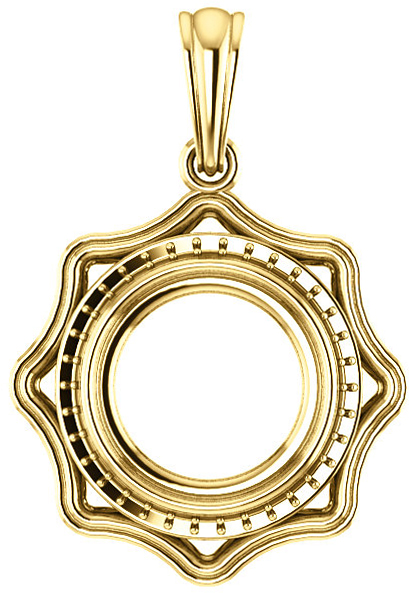 Scalloped Detail Halo Pendant Mounting for Round Centergem Sized 4.10 mm to 10.00 mm - Customize Metal, Accents or Gem Type
