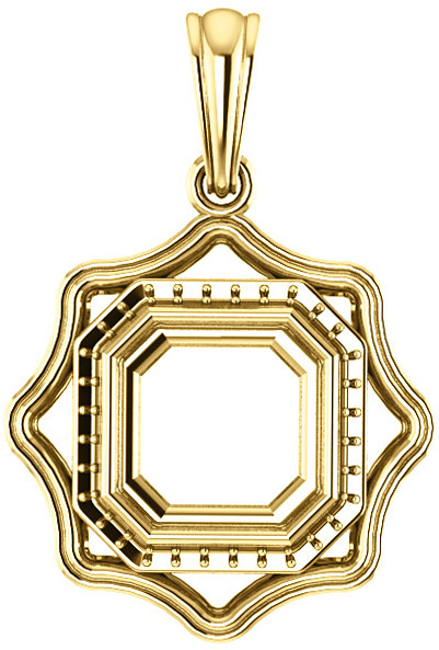 Scalloped Detail Halo Soiltaire Pendant Mounting for Asscher Gemstone Size 5mm to 10mm