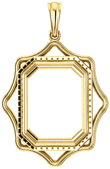 Scalloped Detail Halo Soiltaire Pendant Mounting for Emerald Centergem Sized 6.00 x 4.00 mm to 16.00 x 12.00 mm - Customize Metal, Accents or Gem Type