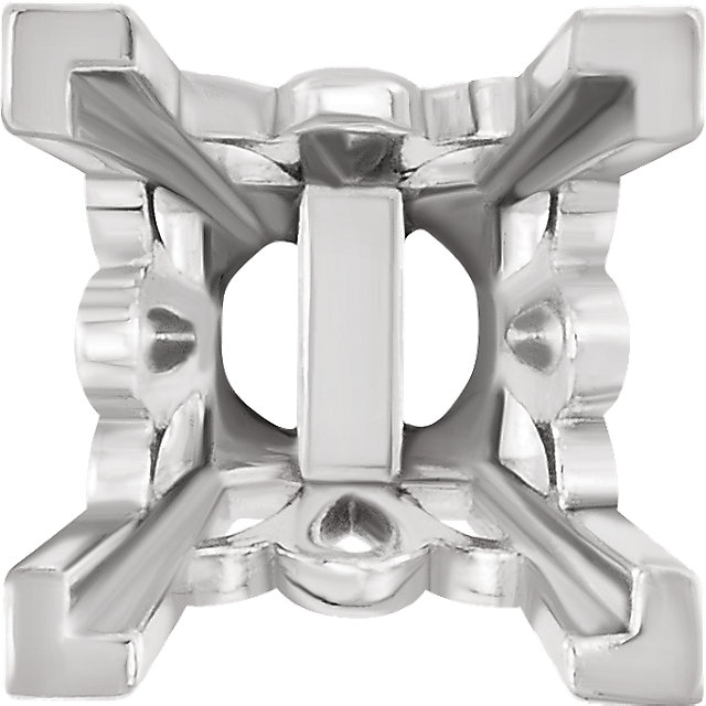 Scroll Style V-Prong Earrings Mounting for Square Shape Centergems Sized 3.00 mm to 10.00 mm - Customize Metal or Gem Type