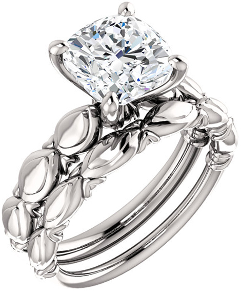 Sculptural Solitaire Engagement Ring Mounting For Cushion Gemstone Size 5mm to 8mm