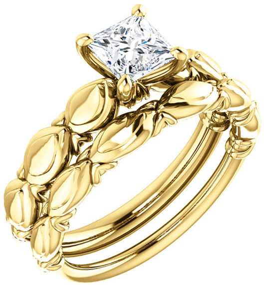 Sculptural Solitaire Engagement Ring Mounting For Square Gemstone Size 4.50mm to 9mm