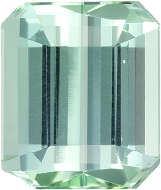 Seafoam Blue Green Tourmaline Loose Gem in Emerald Cut, 8.1 x 6.9 mm, 2.2 Carats