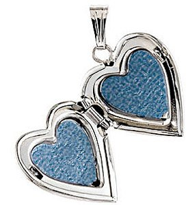 Sentimental 14k White Gold Heart Locket with .01ct Diamond Accent for SALE - Insert 2 Photos Inside - FREE Chain Included