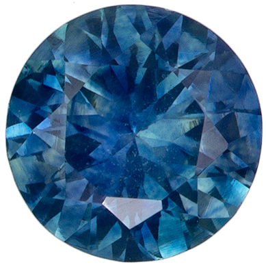 Pretty Gem in 0.82 carats Sapphire Genuine Gemstone in Round Cut, Teal Blue Green Color in 5.6 mm Size