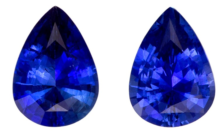 Serious Gem in 1.33 carats Sapphire Genuine Gemstone Pair in Pear Cut, Intense Blue, 7 x 5 mm