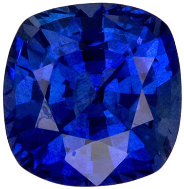 Serious Gem in 1.81 carats Sapphire Genuine Gemstone in Cushion Cut, Medium Blue, 6.7 x 6.6 mm