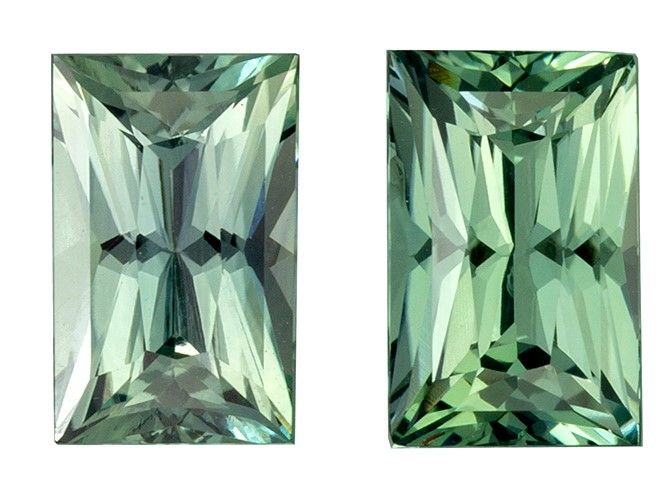 Serious Gem in 1.97 carats Sapphire Genuine Gemstone Pair in Radiant Cut, Teal Blue, 6.8 x 4.3 mm