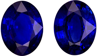 Serious Gem in 2.54 carats Sapphire Loose Genuine Gemstone Pair in Oval Cut, Intense Blue, 8 x 6 mm