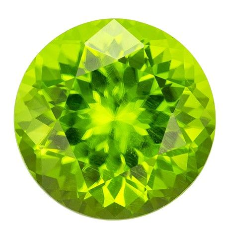 Serious Gem in 3.17 carats Peridot Loose Genuine Gemstone in Round Cut, Lime Green, 9 mm