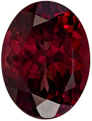 Gem in 5.54 carats Rhodolite Loose Genuine Gemstone in Oval Cut, Rich Raspberry, 11.9 x 9 mm