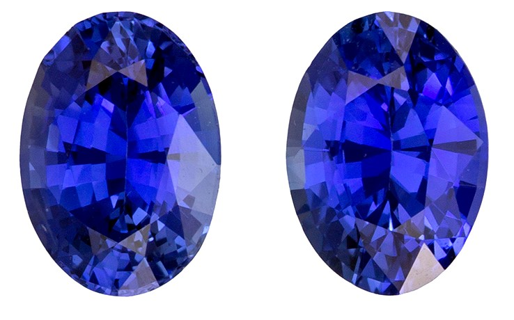 Serious Gem in 6.9 x 4.9 mm Sapphire Loose Gemstone Pair in Oval Cut, Medium Blue, 1.86 carats