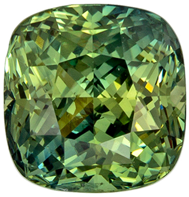 Serious Gem in 7.3 x 7.1 mm Sapphire Genuine Gemstone in Cushion Cut, Minty Green, 2.58 carats