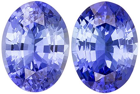 Sharp Calibrated Medium Tone Blue Sapphire Pair in Oval Cut, 8.0 x 6.0 mm, 2.90 carats