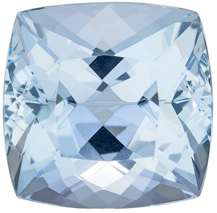 Sharp Looking Aquamarine Loose Gem in Cushion Cut, Rich Blue, 9.1 x 9 mm, 3.37 carats