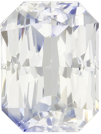 Sharp Looking White Sapphire Loose Gem in Radiant Cut, Super White Colorless, 9.5 x 7.1 mm, 4.25 carats