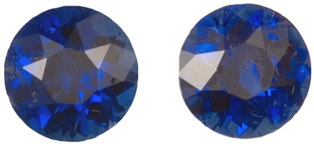 Shimmering Pair of Blue Sapphire Genuine Gemstones for SALE, Round Cut, 2.06 carats