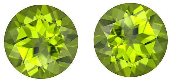 Shimmering Vibrant Green Natural Peridot Gemstones for SALE, Round Cut Matched Pair, 8.04 carats