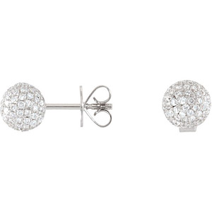 Shining Disco Ball 1.17 ct Diamond Pave Stud Earrings in 14 Karat White Gold for SALE