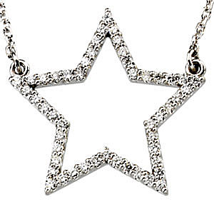 Shining Star .25ct Diamond Studded 14k White Gold Necklace for SALE