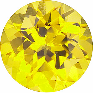 Synthetic Chatham Created Yellow Sapphire Stone, Round Shape, Grade GEM, 5.00 mm in Size, 0.7 Carats