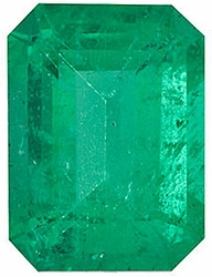 Loose Genuine Gem  Emerald Gem, Emerald Shape, Grade A, 8.00 x 6.00 mm in Size, 1.3 Carats