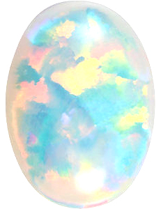 Shop For Chatham Created White Opal Stone, Oval Shape Cabochon, Grade GEM, 6.00 x 4.00 mm in Size, 0.37 Carats