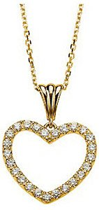 Simple and Chic Diamond Studded Heart Pendant - Choose 14k White or Yellow Gold - FREE Chain
