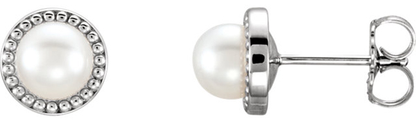 Simple & Beautiful 5.5-6mm Freshwater Cultured Pearl Button Earrings With Bead Style 14k Gold Frame
