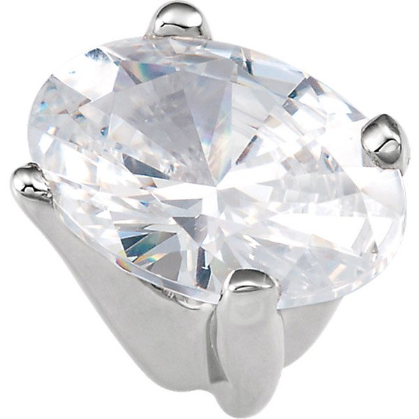 Simple & Chic 14kt White Gold 4-Prong Shank Setting for Oval Gemstone Sized 4.50 x 3.00 mm to 7.50 x 5.50 mm