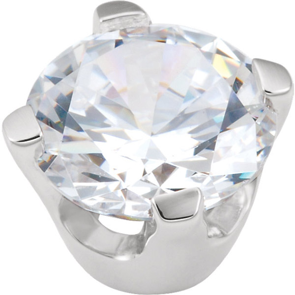 Simple & Elegant 14kt White Gold 4-Prong Heavy Base Setting for Round Gemstone Sized 3.50 mm to 8.60 mm