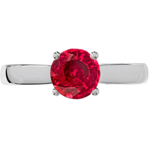 Simple & Elegant Genuine Red Ruby 1 carat 6mm Engagement Ring - Diamond Accents at Base of Prongs