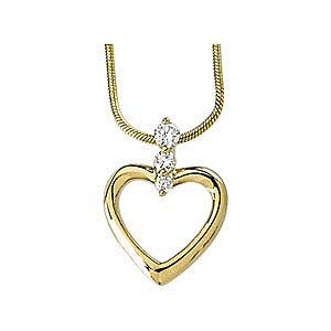 Simple Yet Elegant 14k Yellow Gold Heart Outline Pendant With a .2ct Diamond Studded Link  - FREE Chain